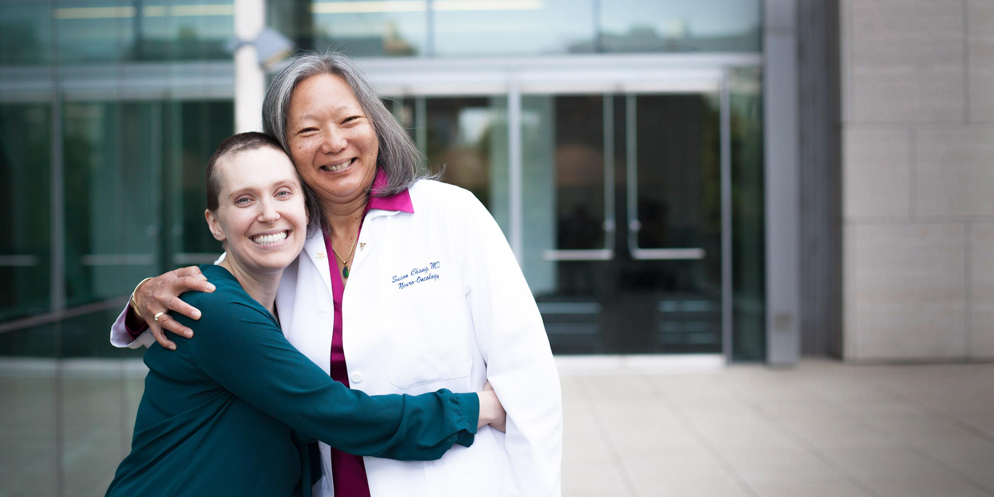 UCSF neuro-oncologist Susan Chang with patient