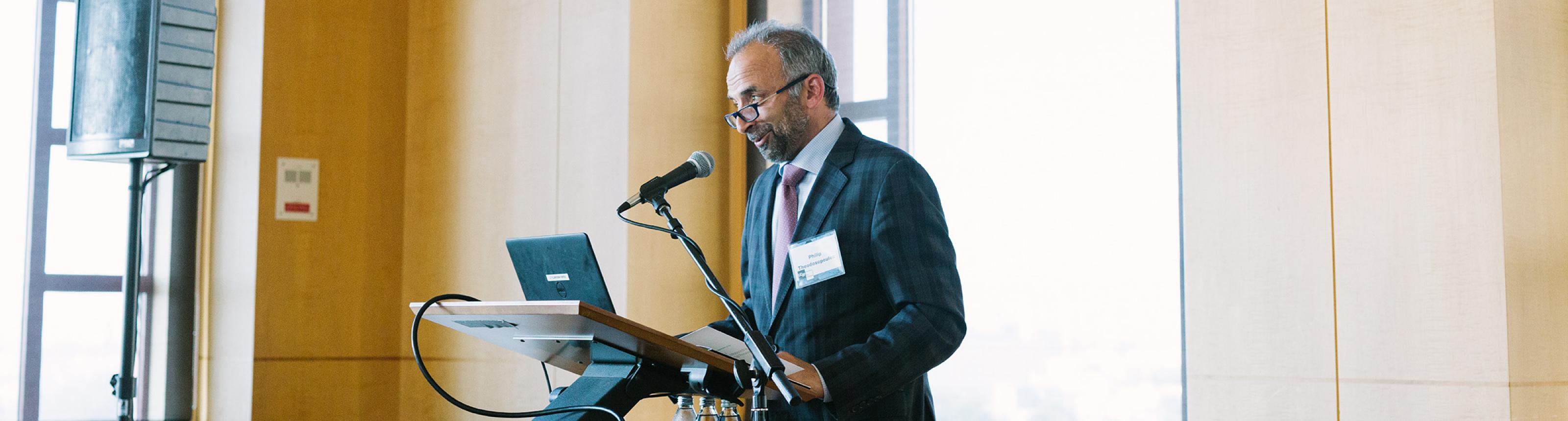 UCSF neurosurgeon Philip Theodosopoulos gives a speech